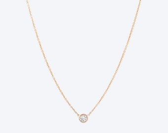 BallucciToosi Floating Diamond Necklace-14k Yellow Rose White Gold - Tiny Brilliant Cut Diamond in a Bezel Set Diamond Pendants Necklace