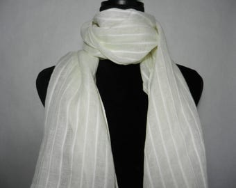 New White Stripe Scarf with Lace