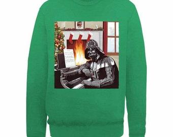 New Star Wars Darth Vader Piano Christmas Funny  Xmas Sweater // Green Sizes Small-XXL