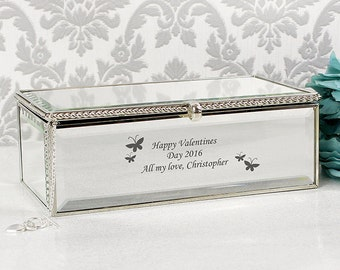 Personalised Large Mirror Jewellery Box Butterfly Design Jewellery Mother's Day
