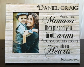 Adoption picture frame //  Adoption Announcement gift / From the moment they placed you in our arms, you snuggle right into our hearts