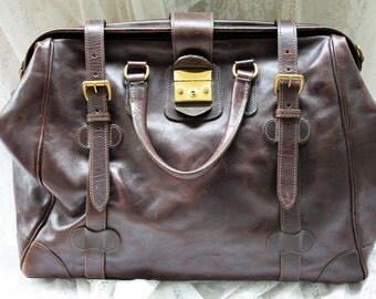 SALE!!! Vintage Mulholland Brothers Safari Dark Brown Leather Doctor bag Briefcase