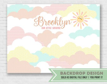 Sunshine Party Banner Backdrop // You Are My Sunshine Party Banner Backdrop