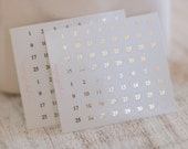 Foil Mini Date Dot Hearts | Planner Stickers | Gold, Rose gold, Silver, Brushed gold
