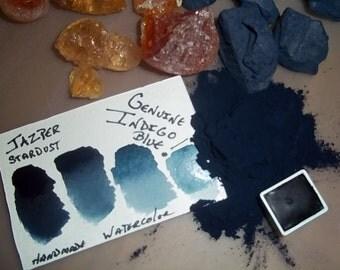 GENUINE INDIGO Jazper Stardust Handmade Watercolor Half Pan (made with pure plant based Indigo!)