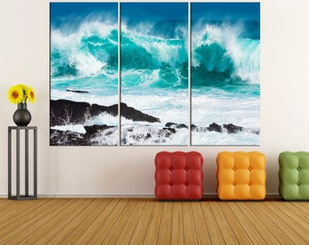 Ocean Storm Waves wall art canvas print extra large wall art, fine art print, large canvas art, wall decoration, canvas art,  ta53