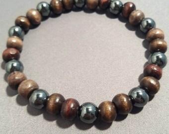 Mens Hematite and Wooden Bead Bracelet