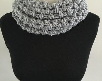 Grey crochet neck warmer/scarf