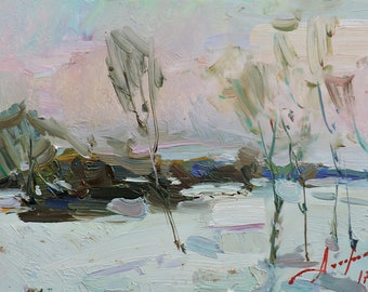 """IMPRESSIONIST ART, Original Oil Painting """"Evening"""" by Ukrainian artist A.Chebotaru, Winter Landscape, Trees in the picture, Signed artwork"""