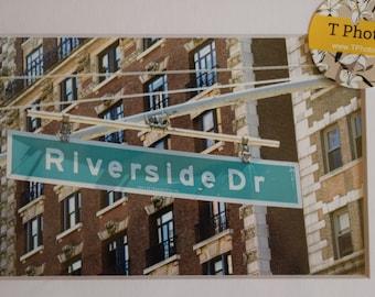 Riverside Dr -  matted New York City photography, street sign art, NYC, urban decor, Columbia, Barnard, Morningside Heights, Harlem, wall