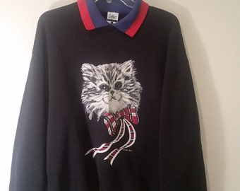 END of WINTER SALE! Cute cat collared pullover sweater