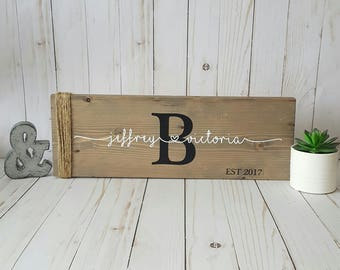 Couples wooden sign | Established sign | Family name sign | Wedding gift | Hand painted name sign