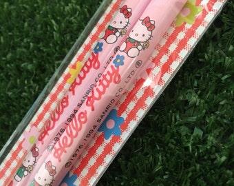 1994 vintage Hello Kitty pink chopsticks from Sanrio Japan