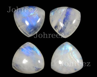 10 Pieces Natural Rainbow Moonstone Trillion Shape Gemstone Cabochon Flat Back Smooth Polished