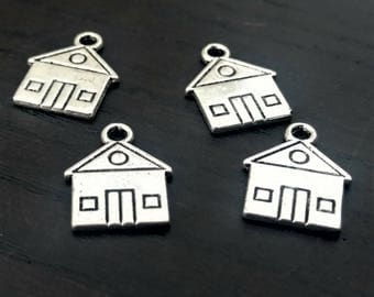 4 House Charms | Silver House Charm | House Pendant | Home Charm | Silver Home Charm | Bangle Charm | Ready to Ship from USA | AS338-4