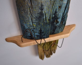 Reclaimed Picket Fence Sculpture - Blue, Yellow
