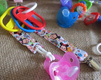 3 Colorful girl pacifier and toy holders