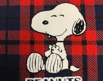 Snoopy Peanuts Plaid Pattern Fabric