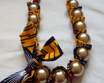 long gold beads yellow necklace with ribbon and short beads necklace african print