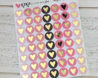 Love Forever Gold Foiled Heart Planner Stickers
