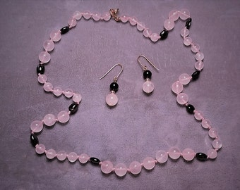 """Rose Quartz and Onyx Necklace 20"""" and Earrings"""