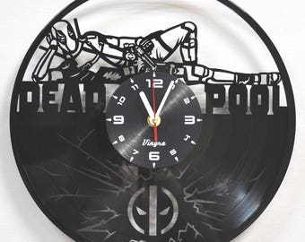 DEADPOOL Vinyl Record Clock Deadpool Wall Clock Marvel Wall Art Deadpool Decal Kids Room Decor Deadpool Art Marvel Clock Children Decor