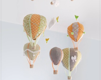Mobile, hot air balloons, green-orange, butterflies, clouds
