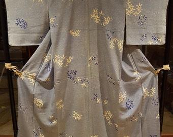 Shoken Silk Komon Kimono - Blue Snow Sky