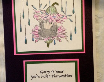 Handmade House Mouse Get Well card
