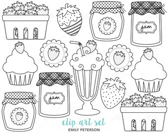 Strawberry, Strawberries, Jam, Milkshake - Cute Digital Stamps, Line Art  - Commercial Use, Instant Download