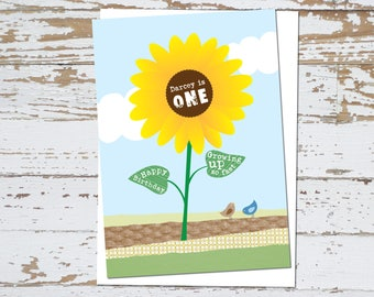 Personalised Sunflower Birthday Card