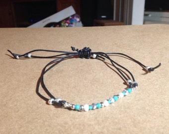 Silver, turqouise & white bracelet