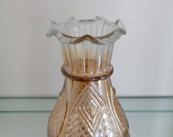 Carnival Glass Vase - Diamond Heart