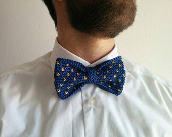 Bowtie crochet in different color: blue; yellow; blue with yellow pois