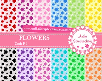 Digital Papers of Flowers - Scrapbook papers-  Digital Backgrounds - Decorative paper - COD: F-1