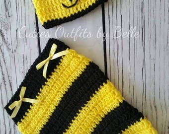 Baby Bee Cocoon, Newborn Outfit, Cocoon Set, Baby Photo Prop, Baby Girl Cocoon, Hat and Cocoon Girls' Clothing, Yellow Black Cocoon.