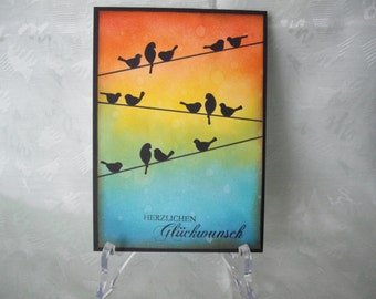 Greeting card, greeting card, congratulations, birds, birds on a wire, Rainbow colors