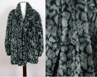 vintage 70's 80's animal print faux fur coat M L