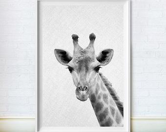 Giraffe Print, Woodlands Animal Wall Decor, Nursery Art, Baby Animal Poster, Black and White, Instant Digital Download, Baby Shower Gift