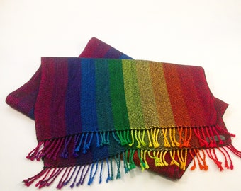 Rainbow Cotton and Bamboo Scarf