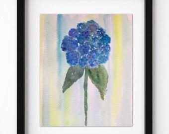 Blue Watercolor flower, botanical floral painting, hydrangea art, simple floral, flower artwork, flower painting