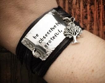 Silk Yoga Wrap Bracelet - Be Obsessively Grateful