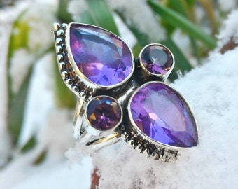 Superb ring amethyst and 925 Silver size 57 or 8 US