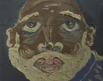 Vintage original, acrylic painting - Study of Poet I