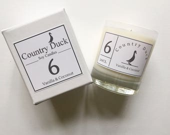Vanilla & Coconut Soy Boxed Candle - 20cl Hand Made in Devon. Eco friendly vegan candle.