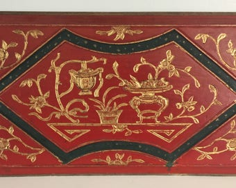 Red Lacquer and Gold Carved Asian Wall Plaque