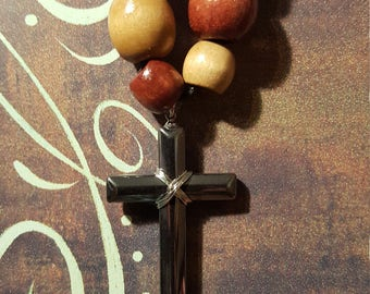 GRAY/SILVER CROSS Pendant - with cool wooden beads on a leather chain!