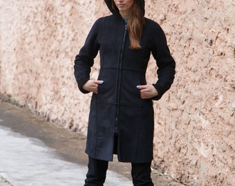 Eco-friendly vintage faux sheepskin coat/black winter hooded coat