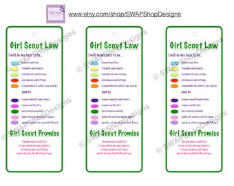 Girl Scout Promise and Law Printable Instant Download Girl