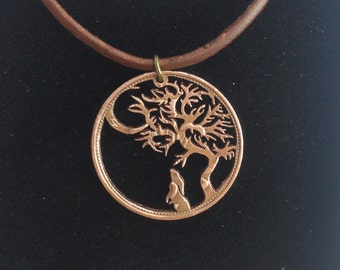 Midsummer Nights Dream, Hare, Tree and Moon - Hand Cut Coin Pendant
